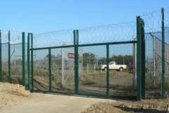 Clearvu Fence with Gate and Razor Wire Top